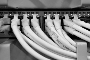 Data cabling patched into network switch